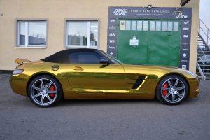 Mercedes SLS zabezpieczenie folii Gold Chrom